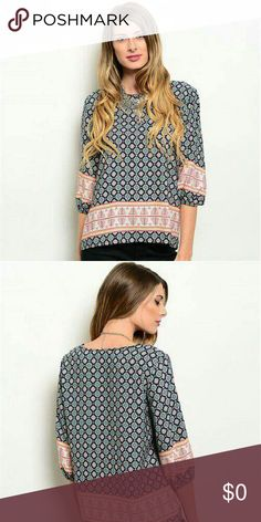 Lowest price for 1 day ! Navy Vintage Print Blouse 100% polyester,  medium-bust 42/length front 25 back 28, large-bust 44/ length front 25 back 27 Tops Blouses