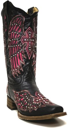 Corral Women's Black Cowboy Boots South Texas Tack -- The perfect cowboy boot for your wedding day! | SouthTexasTack.com