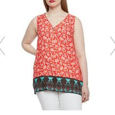 ZIP FRONT TOP NWT🎉 ⬇ 🎉HP BEST IN RETAIL BY LEAHMARIE1821🎉     BEST IN TOPS BY MELISSAA1230🎉 HP WEEKEND WARDROBE BY HRACHAL🎉     This shirt is just beautiful ! Such beautiful colors that contrast each other so well, coral and blue look wonderful together, sleeveless and v neck you wont regret having this gorgeous piece in your closet! Pair it with blue jeans or white pants gorgeous!! See  pic 4 for measurements. Tops
