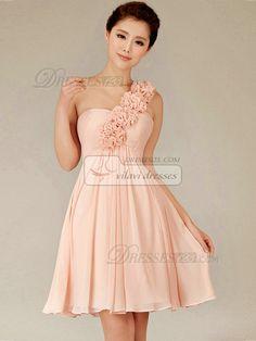 A-line One Shoulder Short Chiffon Pink Flower Bridesmaid Dresses
