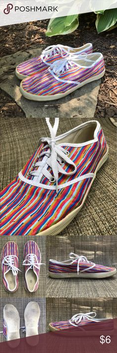Striped canvas plimsoll shoe Multicolor striped canvas plimsoll shoe. Visibly worn with some scuffing and discoloration all on the sole of the shoe. Rest of shoe is in very good condition. These shoes are also available in two other colors from my closet! Urban Outfitters Shoes Sneakers