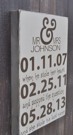 Personalized Wedding Sign Engagement Gift Wedding Gift by wavynavy