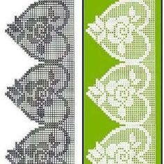 A bunch of filet crochet lace heart edgings with graphs Filet Crochet Charts, Crochet Borders, Crochet Cross, Crochet Diagram, Thread Crochet, Crochet Trim, Irish Crochet, Crochet Motif, Crochet Designs