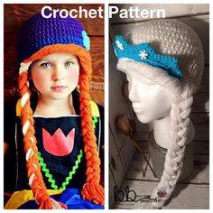 Ana & Elsa from Frozen Hat -2 PACK PATTERN ONLY - Crochet - All Sizes