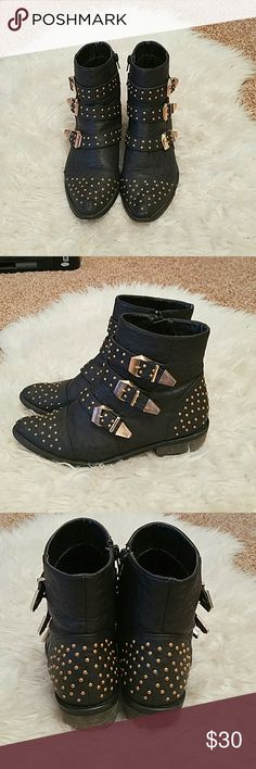 "Gold Studded Buckle Booties Faux leather with pointed toe and 1"" heel. Light scuffs on backs of heels as shown. Shoes Ankle Boots & Booties"