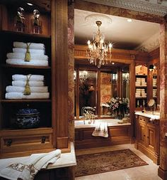 Elegant bathroom details, love the stained wood!~