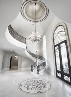 House entrance interior foyers stairways Ideas for 2019 Luxury Life, Luxury Living, Luxury Homes, Luxury Mansions, Luxury Apartments, Grand Staircase, Staircase Design, Luxury Staircase, Winding Staircase