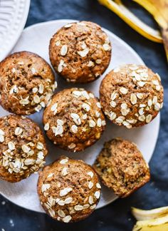 Healthy banana oat muffins recipe - http://cookieandkate.com