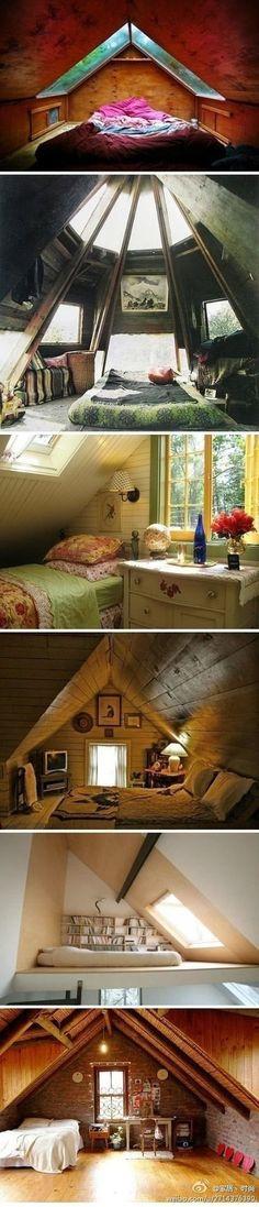 子どもの頃、屋根裏の寝室に憧れました‥ こんな素敵な寝室で、ゆっくり星空を眺めてみたい*