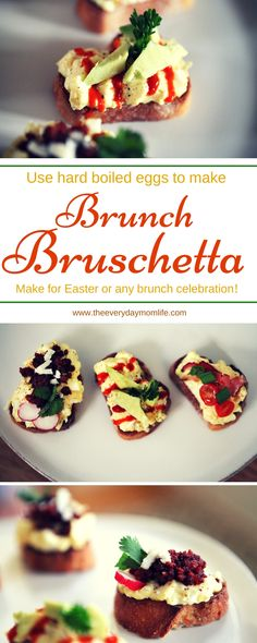 Brunch Bruschetta With Easter Egg Leftovers. This recipe is the perfect way to use up all those eggs after the bunny comes. Make it for Easter or make it for any brunch celebration for friends and family. Great appetizer or small bite.