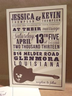 Nashville Hatch Country   Southern Save the Date   Wedding   Rehearsal  Dinner with Guitar   Birthday Custom Printed Darby Cards InvitationMusic Wedding Invitations   Acoustic Melody   Music theme weddings  . Nashville Wedding Invitations. Home Design Ideas