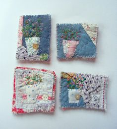 hens teeth: I was born in a cross-fire hurricane, and I howled at my ma in the driving rain. Art Textile, Textile Jewelry, Fabric Jewelry, Jewellery, Fabric Art, Fabric Crafts, Sewing Crafts, Sewing Projects, Old Quilts