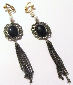 """$9.75 - 4 1/2"""" Gold Plated Black Bead White Pearl Chain Dangle Clips-on Handcrafted Earrings"""