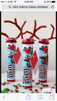 Mini M&Ms tube reindeer gift craft