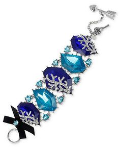 Betsey Johnson Bracelet, Silver-Tone Blue Large Crystal Toggle Bracelet - Fashion Jewelry - Jewelry & Watches - Macy's