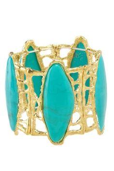 teal and gold bracelet