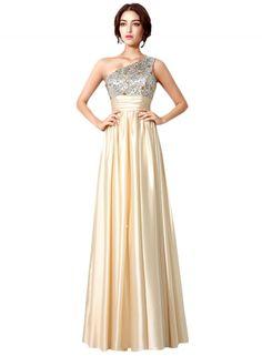 Women's One Shoulder Sequins Evening Bridesmaid Prom Dress AZBRO.com
