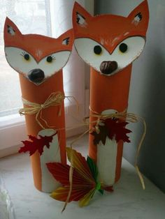 з тубуса лисиця Autumn Crafts, Autumn Art, Autumn Theme, Toilet Paper Roll Crafts, Paper Crafts, Diy For Kids, Crafts For Kids, Diy And Crafts, Arts And Crafts