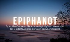 Epiphanot - (n) - an idea that seems like an amazing insight to the conceiver but is in the fact pointless, mundane, stupid, or incorrect.