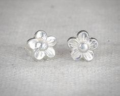 Flower Stud Earrings, Sterling Flower Earrings, Silver Stud Earrings, Simple Earrings, Flower Girl Gift, Flower Girl Earrings,Flower Jewelry by Alaridesign