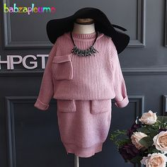 19.90$  Buy here - http://alirg5.shopchina.info/go.php?t=32754349054 - 2Piece/2-6Years/Autumn Winter Korean Kids Clothes Suit Pink Knit Sweaters+Skirt Baby Girls Outfits Children Clothing Sets BC1265 19.90$ #magazineonlinebeautiful