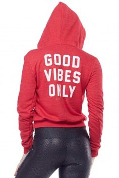 Spiritual Gangster Good Vibes Only Pullover Hoodie in Cherry Red