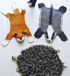 Animal Felt Rugs - hedgehogs, badgers and foxes, oh my!