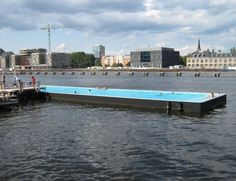 The Badeschiff is one of Berlin's most unusual attraction - a floating public swimming pool in the East Harbour section of the River Spree. Container Pool, Container Houses, Berlin, Travel List, Green Building, Dream Vacations, Wonderful Places, Swimming Pools, Germany