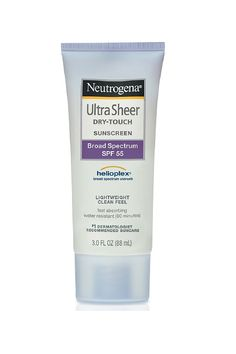 """Tara Rasmus, associate beauty editor """"This was the original 'matte-finish' sunscreen — it's basically a cult classic at this point — and I still find myself stocking up on it every summer. It works well, smells like clean laundry, and never feels gross on my face. I dig it.""""Neutrogena Ultra Sheer Dry-Touch Sunscreen SPF 55, $8.99, available at Drugstore.com."""