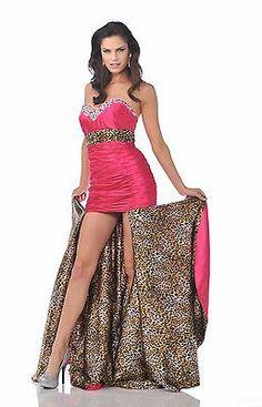 Long Ruffled Top Stunning Train Leopard Print Sexy Prom Homecoming Formal Dress   eBay