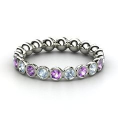 Pod Eternity Band, Platinum Ring with Amethyst