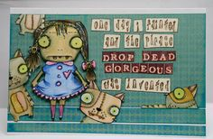 """Lynne's Art World: Sisterhood of Snarky Stampers """"D"""" is for Day Of The DEAD! Copic Markers, Journalling, Day Of The Dead, Art World, Altered Art, Mixed Media, Card Making, Scrapbook, Cards"""