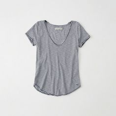 Abercrombie & Fitch Relaxed V-Neck Tee ($18) ❤ liked on Polyvore featuring tops, t-shirts, navy stripe, navy striped t shirt, scoop-neck tees, cotton tee, navy stripe t shirt and v-neck tee