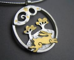 The Hare and the Moon Pendant - medium