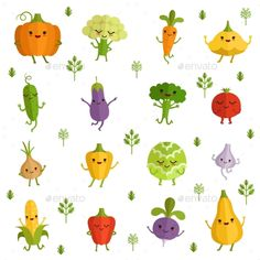 Vegetables Characters with Funny Emotions. Vector