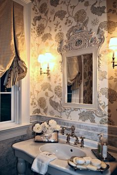 Elegant Guest Bathroom... look s  just like my bathroom wallpaper
