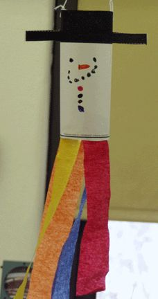 """Snowman Windsock-Hold a  9""""X 12"""" piece of white construction paper horizontally. Color approximately a 2 1/2"""" black band across the top. Draw a face and buttons in the center. Cut a slit in both side of the black to make the hat base that sticks out. Fold into a cylinder and staple or glue. Add colorful rainbow streamers."""
