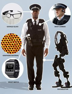 Armed Police Already Wear Latest Body Armour & Weapons. Soon They To Be Given Computer Glasses, Watches & Super Light Graphene Vests. Wearable Computer, Wearable Technology, Latest Technology, Technology Gadgets, Tech Gadgets, Science And Technology, Medical Technology, Energy Technology, Google Glass