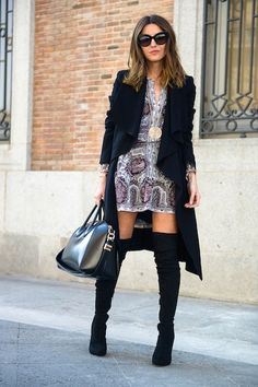 CHIC[winter]: silky thin dress; over the knee boots; overcoat