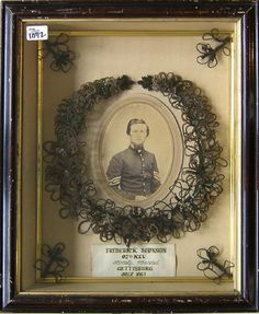 Civil War Hair wreath memorial. KIA Gettysburg, 1863.