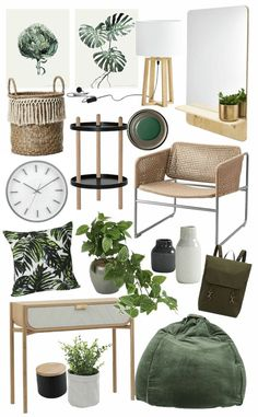 Simple ways to add Green Vibes to your Home - botanical interior design ideas m. - Simple ways to add Green Vibes to your Home – botanical interior design ideas mood board on tlc - Cosy Dining Room, Living Room Decor Set, Decor Room, Dining Room Design, Design Table, Design Kitchen, Interior Design Courses, Decor Interior Design, Interior Design Living Room