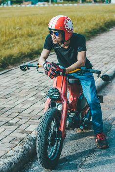 Do nhu cau len Tracker len can ban Street Cub Scooter Custom, Custom Sport Bikes, Custom Cars, Honda Cub, Honda Bikes, 50cc, Motorcycle Design, Mini Bike, Scrambler