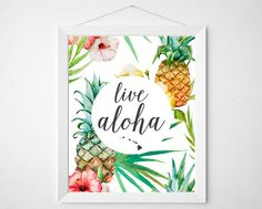 Live Aloha Pineapple - print wall decor art - tropical watercolor style vintage hawaii hawaiian retro modern floral quote sign colorful love by BokehEverAfter