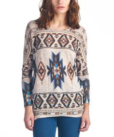 $22.99 Look what I found on #zulily! Taupe Geometric Sublimated Tunic #zulilyfinds