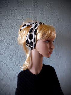 Retro vintage polka dot hair scarf  fifties neck by Scarvestorock