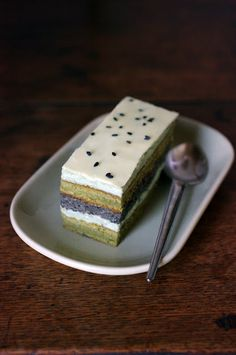 Matcha tea & black sesame layered opera mousse cake