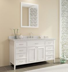 Modernize your bathroom remodel with an Ace Kensington 61 inch Single Sink Bathroom Vanity Set in White Finish. http://www.listvanities.com/white-bathroom-vanities.html These bathroom vanities are a chic choice, complete with satin nickel finish hardware and soft-closing dovetail drawers. Ceramic, under-mount sinks with space for a widespread faucet finish out the pure white countertops.