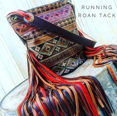 Aztec Bucket Bag with Triple Color, Ridiculously Long Fringe by Running Roan Tack