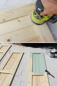 Give your home a simple and chic upgrad with these DIY Craftsman exterior shutters. We have the step-by-step tutorial. Pantry door instead? Craftsman Exterior, Craftsman Style Homes, Diy Shutters, Exterior Shutters, Diy Exterior, Cottage Shutters, Outdoor Shutters, Exterior Signage, Homes With Shutters