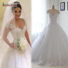 Luxo Beading vestido De noiva Lace Cap apliques Sleeve vestido De noiva Robe De Mariage 2016 mais novo A Line vestido De noiva(China…